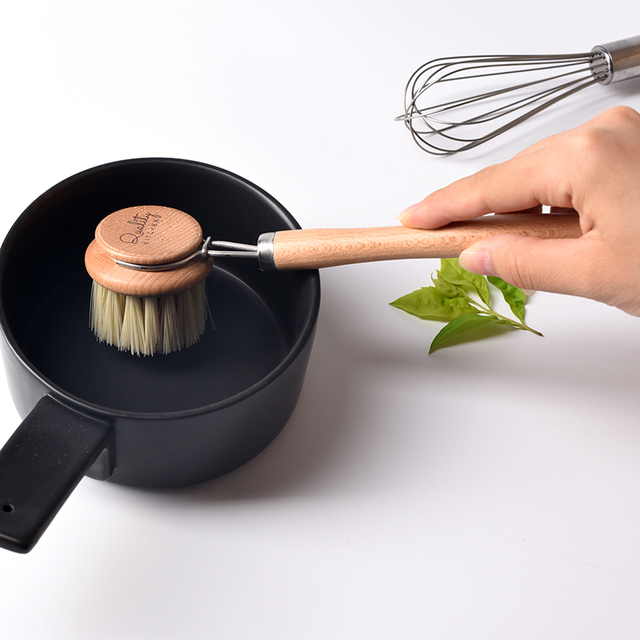 Natural Pan Cleaning Brush Wooden Handle Dish Cup Bottle Pot Washing Brushes Multifunctional Kitchen Cleaning Accessories Tools 3