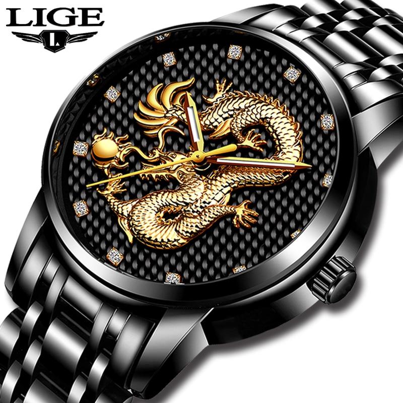 LIGE Men Watches Top Brand Luxury Gold Dragon Sculpture Analog Quartz Watch Men Full Steel Waterproof