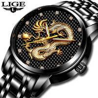 LIGE Men Watches Top Brand Luxury Gold Dragon Sculpture Analog Quartz Watch Men Full Steel Waterproof Wristwatch Reloj Hombre