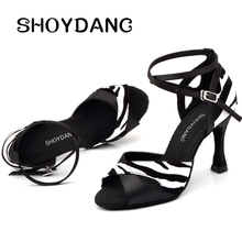SHOYDANC/туфли для латинских танцев; бархатные женские черные атласные туфли для бальных танцев; Каблук 9 см; женские вечерние туфли для сальсы