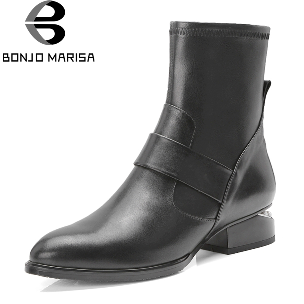 782071018a79e 34 Femme Automne forme Marque 2019 Taille Cuir Chaussures 42 Femmes  Cheville Chelsea Talons Plate Basse Bonjomarisa Bottes ...