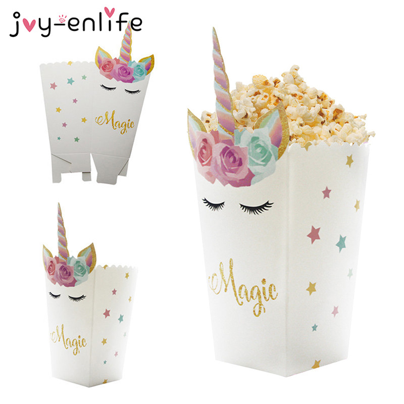 6pcs Unicorn Party Popcorn Boxes DIY Birthday Party Decor Unicorn Theme Party Popcorn Bags Baby Shower Kids Favors