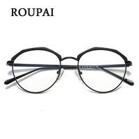 ROUPAI Gözlük Kadın Erkekler Için Mavi Işık Gözlük Bilgisayar Gözlük Yuvarlak Gözlük Şeffaf Lens Yarım Çerçevesiz Gözlük Çerçeveleri Çin