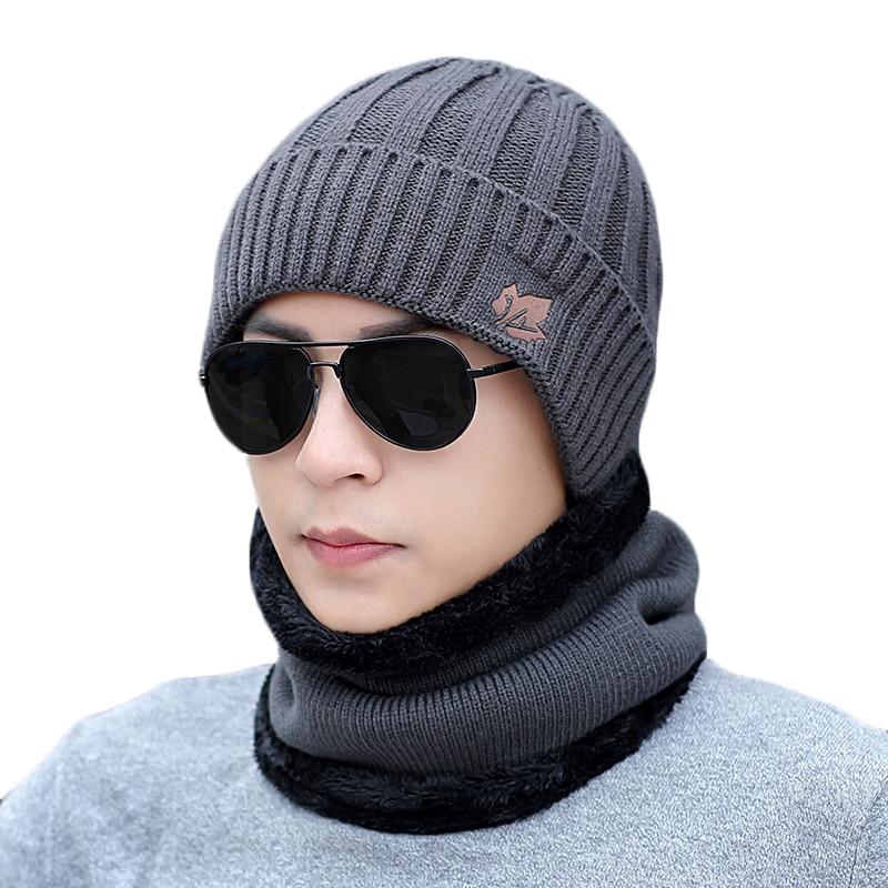Hats Scarf-Set Beanie Velvet Knitting Winter Women Warm for Male Lady Plus Ring 2pcs