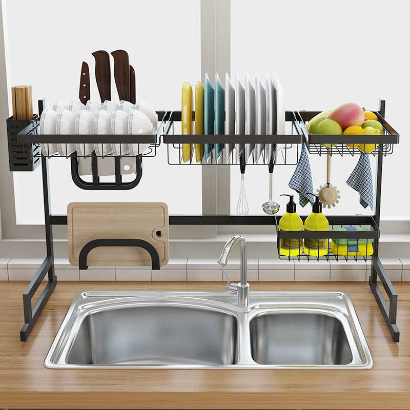 Stainless Steel Sink Drain Rack Kitchen Shelf Two-story Floor Sink Sink  Rack Dish Rack Kitchen Rack