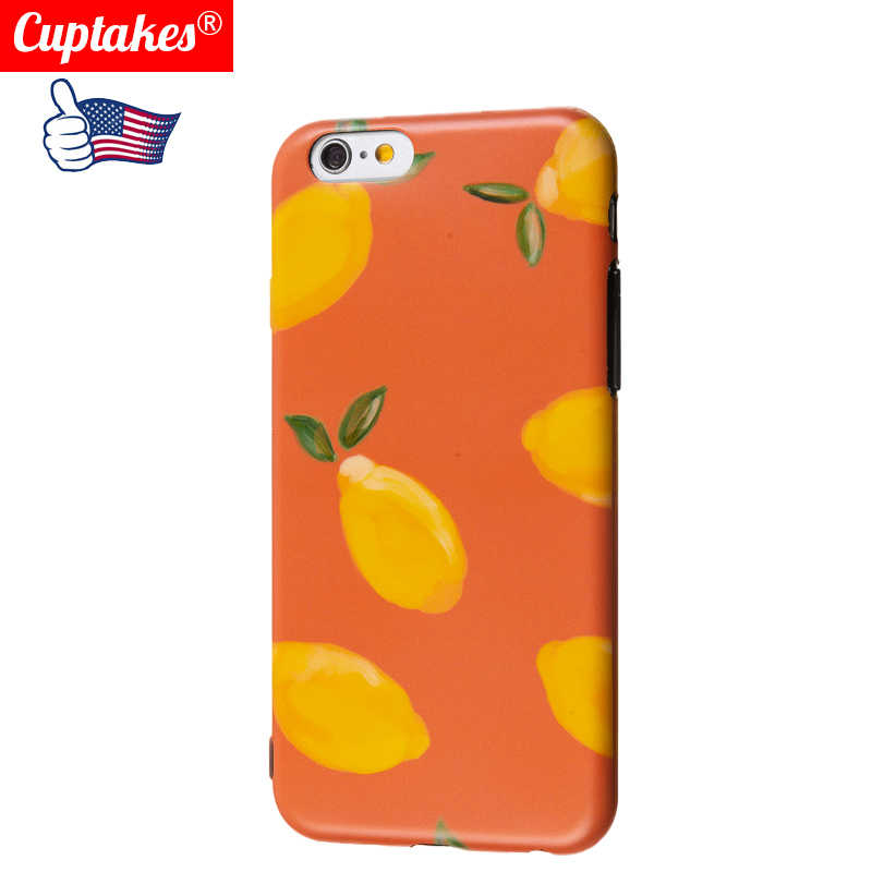new style 94e31 6692c Luxury Matte IMD Soft Silicone Case for iPhone 7 8 X Plus Cover Cute  Cartoon Orange Brand Phone Cases for Apple iPhone 6 6S Plus