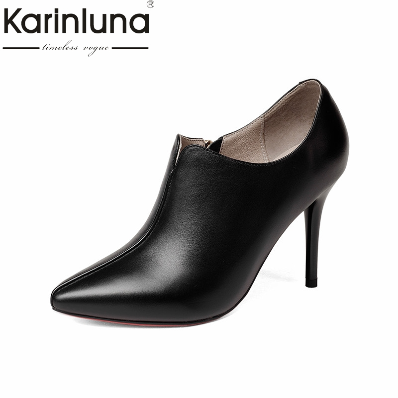 KarinLuna 2018 spring autumn women genuine leather black ol deep pumps high heels mature shoes woman elegant lady work shoes genuine leather women high heels pumps female ol comfortable black work shoes 32 33 40 41 42 43 44 sy 777