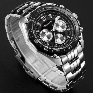 Image 5 - Curren relógio de pulso masculino, relógio de marca de luxo de quartzo em aço inoxidável, casual, militar, esportivo, vestimenta para homens, novo 2018