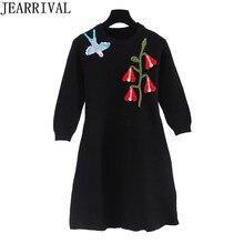 2017, Новая мода Вышивка зимнее платье Для женщин взлетно-посадочной полосы дизайнер с длинными рукавами и круглым вырезом черный вязаный Платья-свитеры Vestidos Mujer