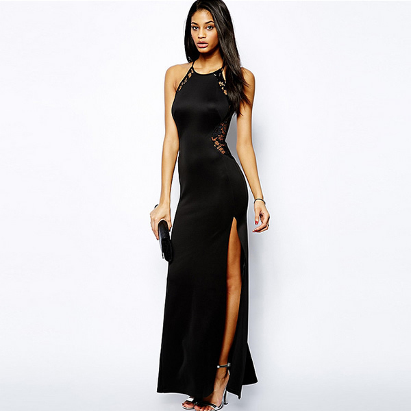 2017 Side Slit Sexy Vestidos de Renda de Verão Sem Mangas Vestido Maxi Lado corte gothic black lace dress longa noite vestidos vestidos robe xl