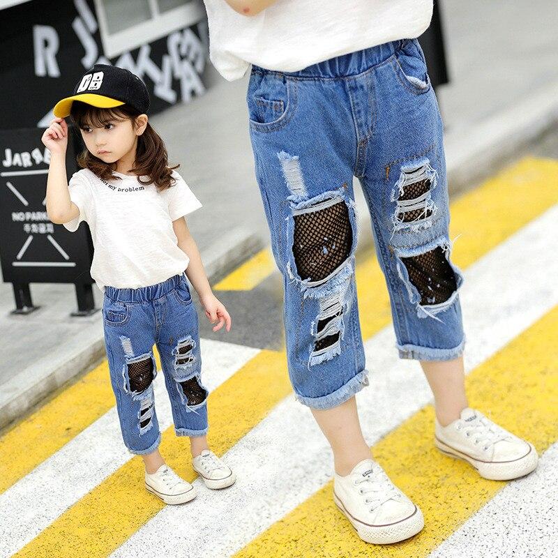 Origineel Meisjes Gebroken Gat Jeans Zomer Fall Stijl 2018 Trend Denim Broek Voor Kinderen Kinderen Katoenen Netten Cropped Broek