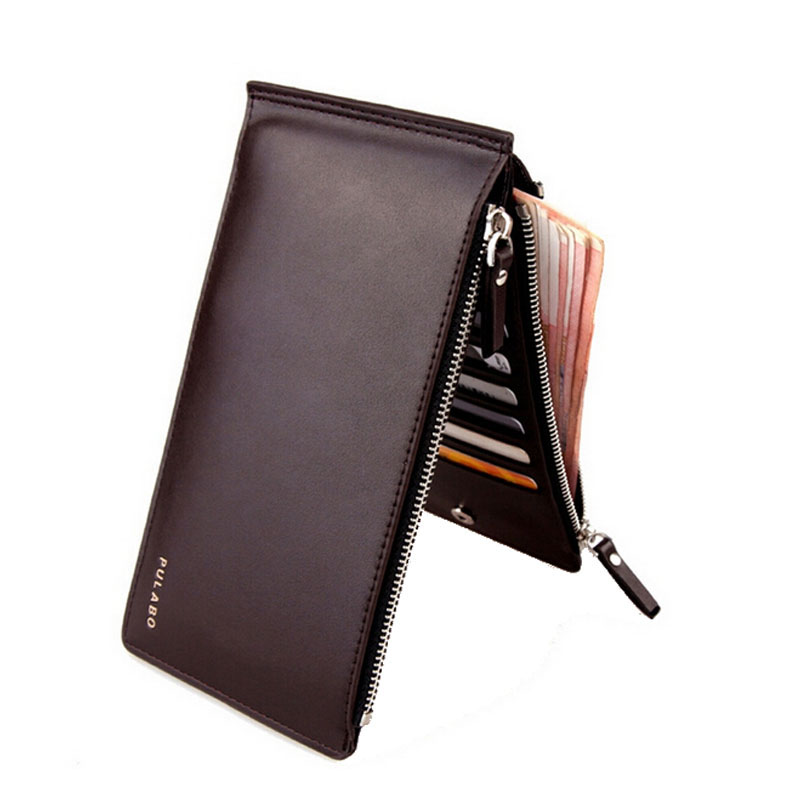 With Double Layer Zipper Pocket Large Capacity Leather Wallet For Men Coin Money Bag Clips 17 Credit Card Holders Purses Wallets mobile phone arm bag with double layer pocket design for jogging