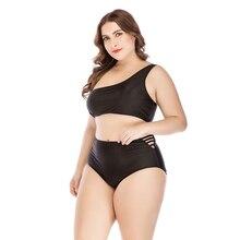 Plus Size Bikini Large Sizes Black One Off Shoulder Swimsuit High Waisted Bandage Swimwear Cut Out Women