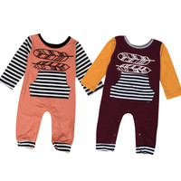 Newborn Baby Boy Girl Feather Print Long Sleeve Romper Jumpsuit Outfits Clothes Drop Shipping
