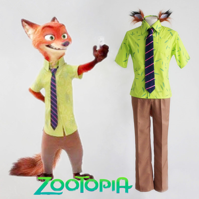 ZootopiaZootropolis Cosplay Costume Fox Nick Cosplay Costume Set With Tail+Ear New Free Shipping