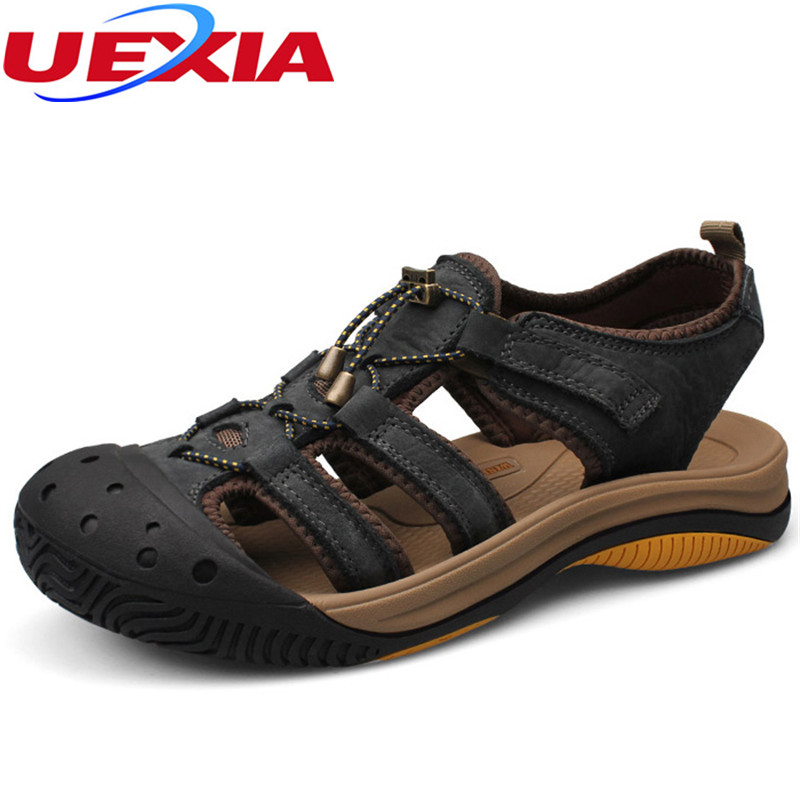 High Quality Brand 2017 Comfortable Men Sandals Beach Casual Summer Breathable Soft Leather Male Shoes Toe protection Sandalias vancat luxury classics summer shoes men sandals fashion male sandalias beach shoes soft bottom breathable leather sandals flats