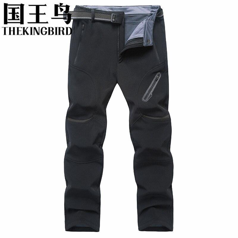 THEKINGBIRD winter Plus velvet Mens pants outdoor sport Softshell pants men Fishing Hiking Gore-tex Waterproof pants men L-8XL