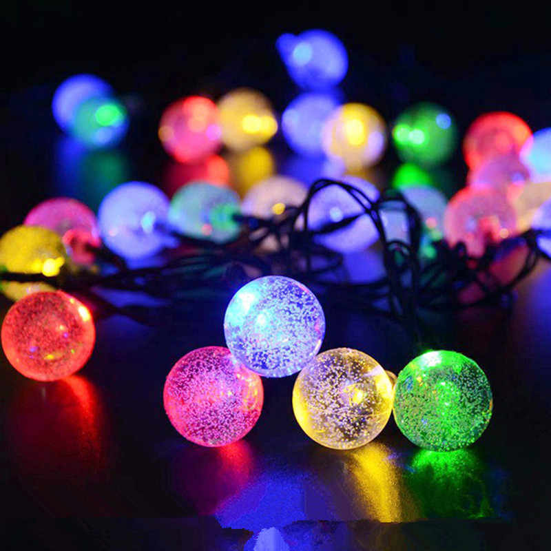5M 6.5M 7M 12M LED Solar Globe Bubble Ball String Lights 20/30/50/100LEDs Outdoor Waterproof Christmas Decor Ball Light String