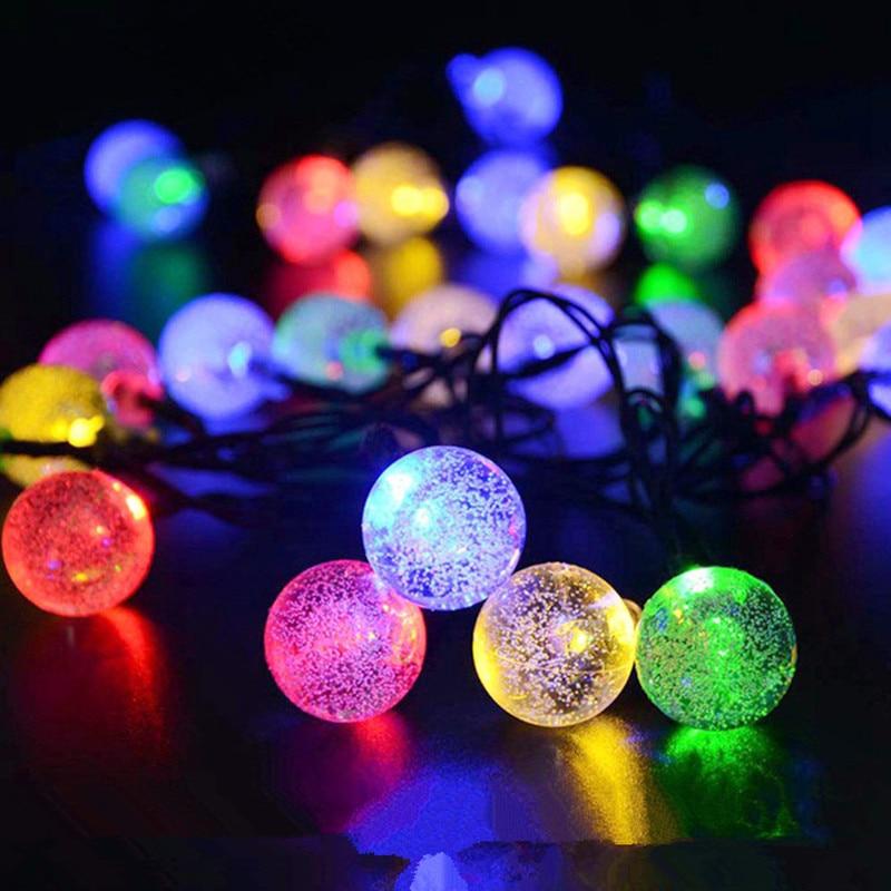 5M 6.5M 7M 12M LED Solar Globe Bubble Ball String Lights 20/30/50/100LEDs Outdoor Waterproof Christmas Decor Ball Light String