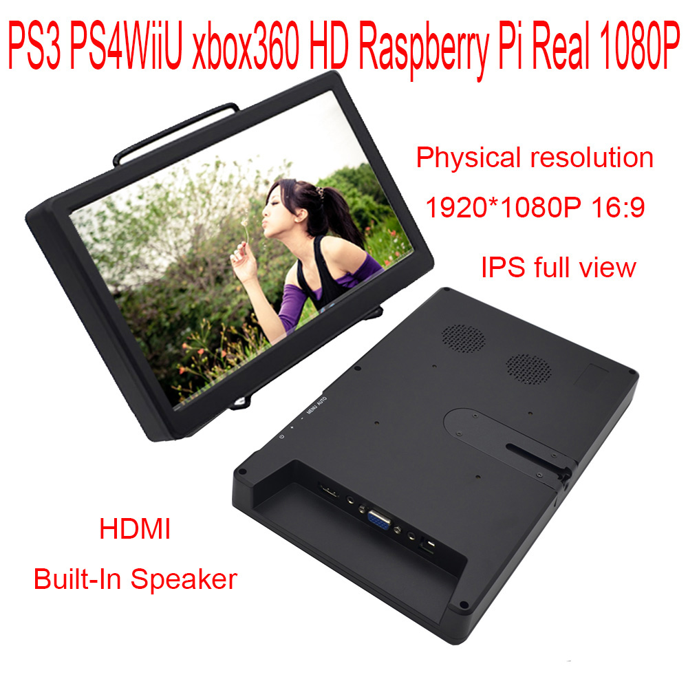 10 1 inch 1920 1080P Mini Monitor Built Speaker HDMI VGA Support Raspberry Pi PS3 PS4