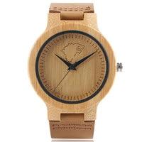 Einfache Stil Wolf Hund Muster Natur Bambus Holz Quarz Analog Frauen Männer Lederband armband Minimalistischen geliebten Uhren