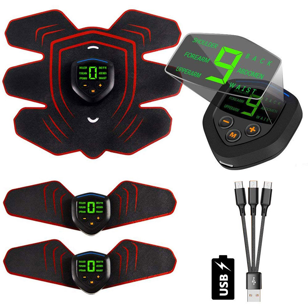 EMS Muscle Electro Stimulator Abdominal Muscle Toner Abs Trainer With LCD Display USB Rechargeable Fitness Training Gear Ab Belt