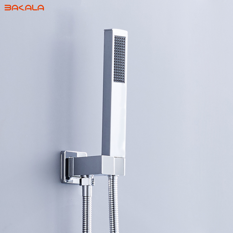 BAKALA Brass Square Chrome Hand Held Shower Head With Wall Connector &1.5m Hose Set Water Saving Copper Handheld Sprayer