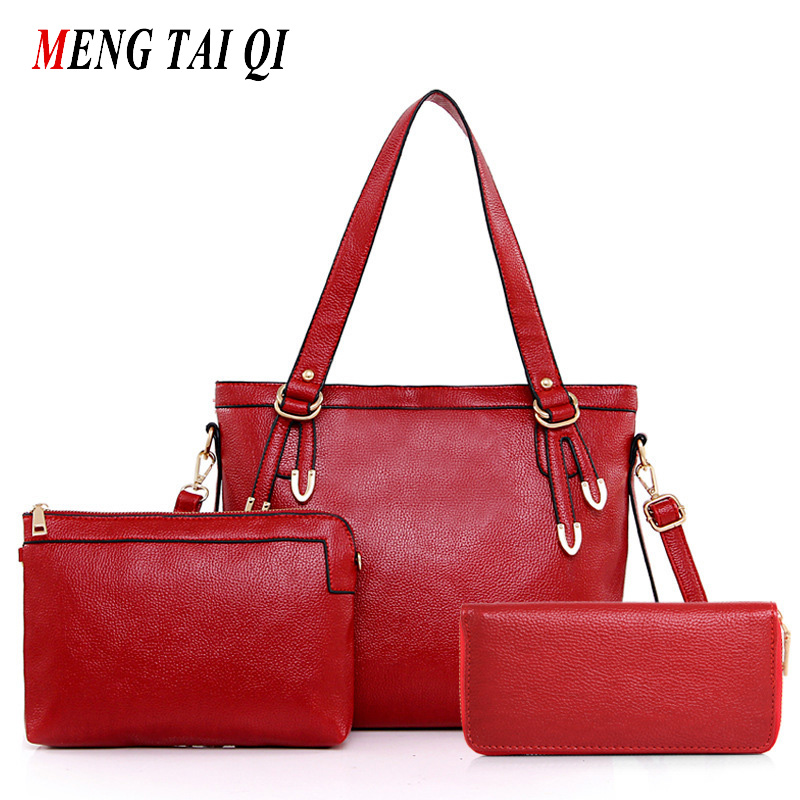 ФОТО Woman Shoulder Bags Designers Brand Ladies Purses And Handbags Solid Leather Bags Women 2016 Crossbody Composite Bag 3 Pcs 4