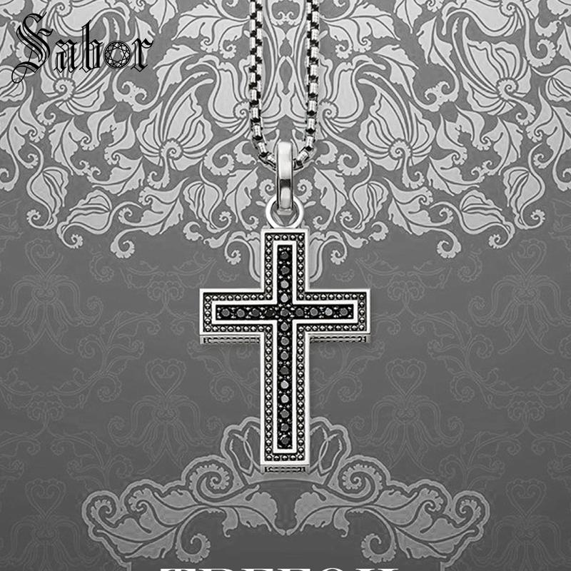 Link Chain Necklace Vintage Cross Pave Fashion 925 Sterling Silver Jewelry Religious Gift For Mens Women Boy Girls New thomas