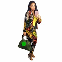 Women S Jacket Blazer Pants 2 Piece Set Europe And America Fashion Printed Casual Suit And