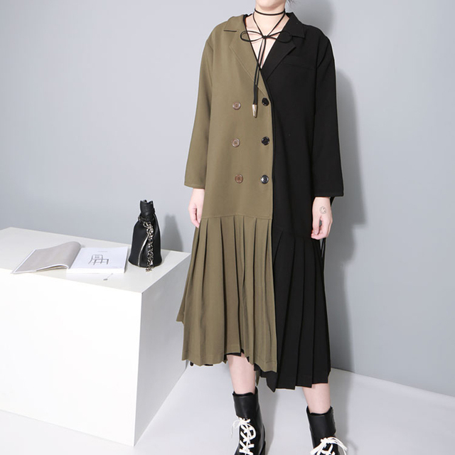 [TWOTWINSTYLE] 2017 Autumn Double-Breasted Pleated Long Sleeves Trench Women Coat Army Green Windbreaker Black New Clothing