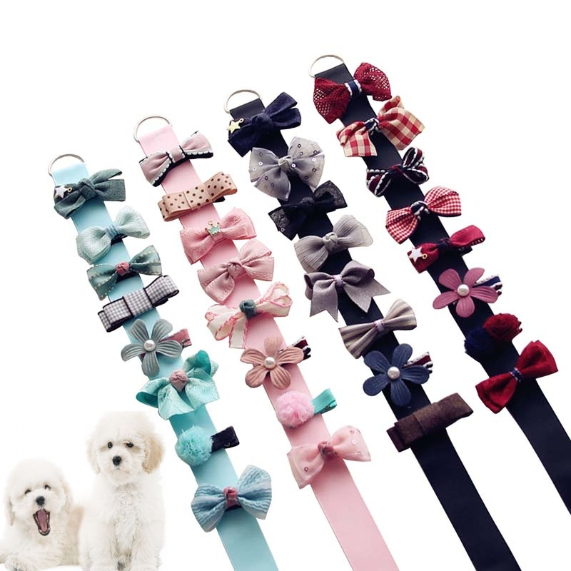 5pcs 8pcs in 1set Mix Style Dog Hair Bows with Full Covered Clips Pet Hair Clips set dog grooming bows pet hair accessories in Dog Accessories from Home Garden