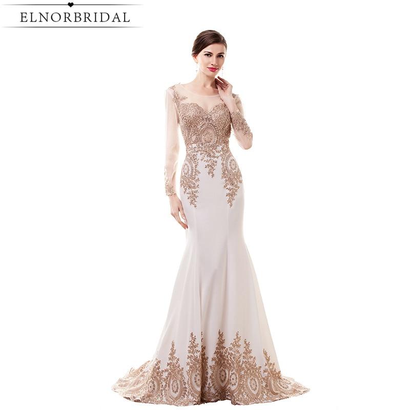 Long Sleeves Mermaid Prom Dresses 2017 Modest Sheer Formal Women Evening Dress Vestido De Formatura Party Gowns
