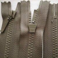 50 Pcs/lot Short Plastic Ykk Zipper Resin Close End Grey green Khaki for Clothing Pocket Collar Sewing Accessories Wholesale