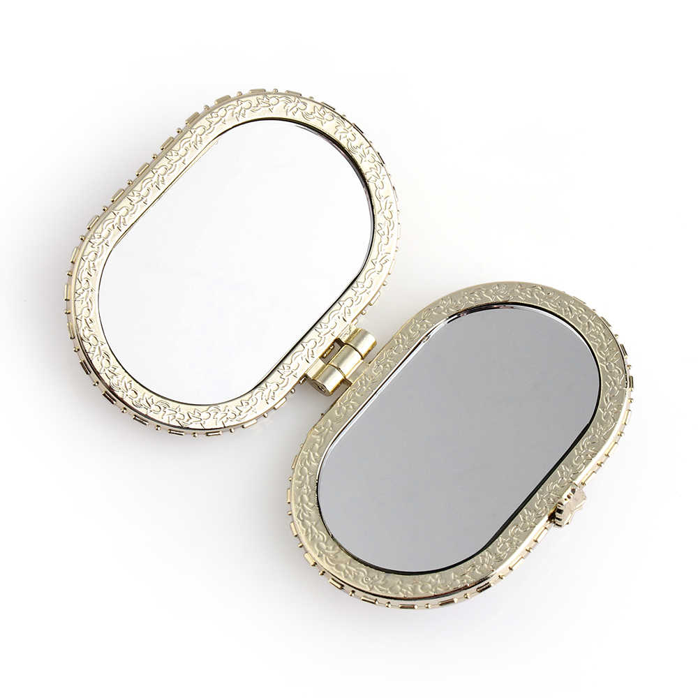 Random Color!1pc Portable Mini Vintage Floral Mirror Two-side Makeup Mirrors Compact Pocket Folding Make Up Mirror Cosmetic Tool