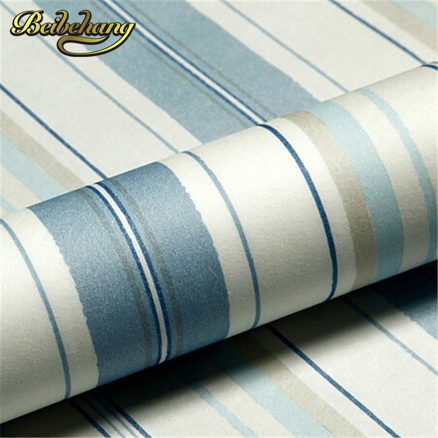 Beibehang Wallpaper Modern Fashion Horizontal White Blue Striped Roll Vertical Kids Child For Wall Living