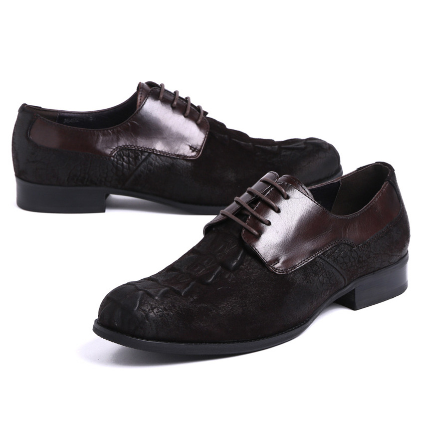 New Arrival Mens Formal Dress Footwear Cow Suede Leather Round Toe Lace-up Alligator Man Derby Wedding Party Shoes YMX414