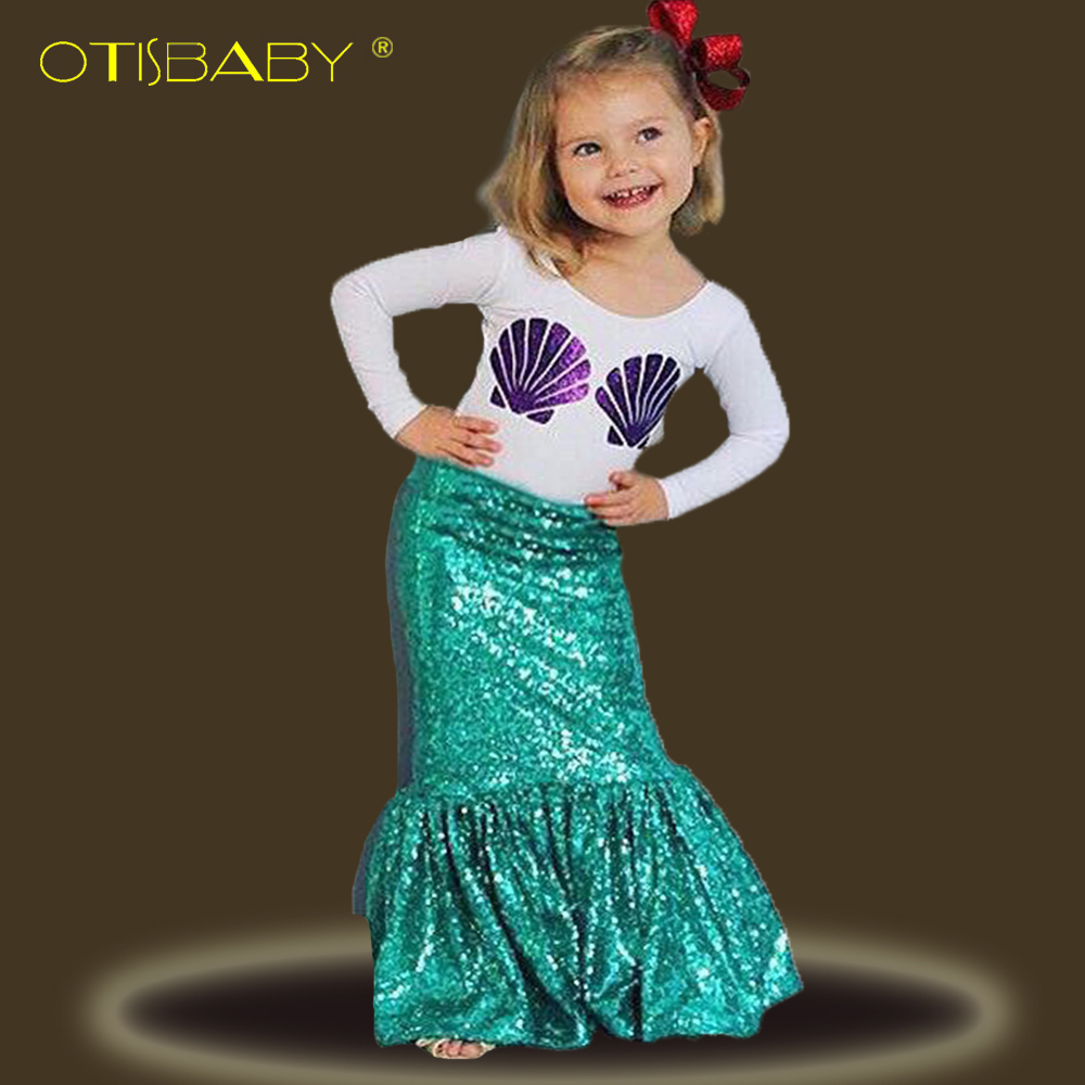 The little Mermaid Clothing Sets for Girls Purple Shell Long Sleeve T Shirts & Ariel Green Skirts Toddler Kids Party Dresses ...