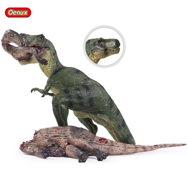 Oenux Original Jurassic Tyrannosaurus Rex Action Figure T-Rex Dinossauro Modelo de Mundo Selvagem Dinossauros Brinquedos Estatueta Ação Presente