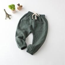 все цены на New Autumn Summer Casual Kids Pants Children Cotton Linen Loose Elastic Waist Boys Pants Full Length Baby Girls Trousers XL267 онлайн