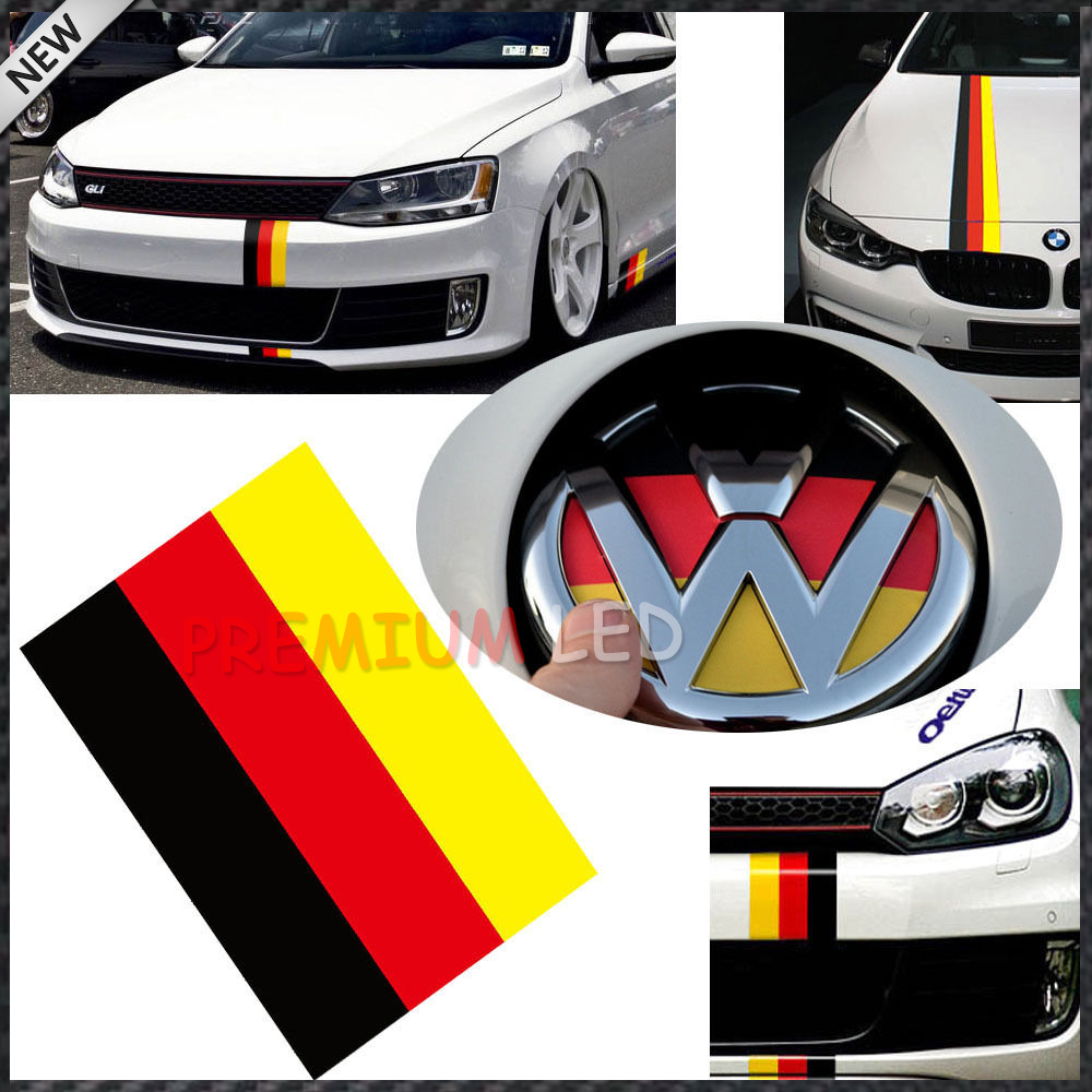 1 10 Quot Germany Flag Color Stripe Decal Sticker For Audi Bmw Mini Mercedes Porsche Volkswagen