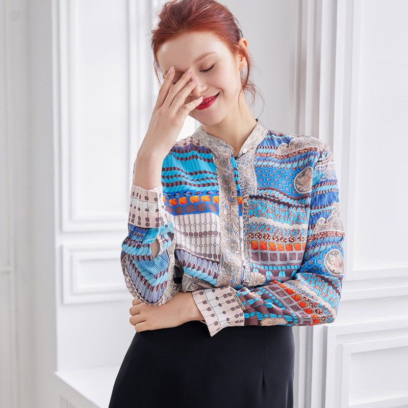 100% soie Blouse femmes Blouses impression 3D femmes à manches longues chemises Blusas Femininas Elegante Harajuku dames hauts décontracté