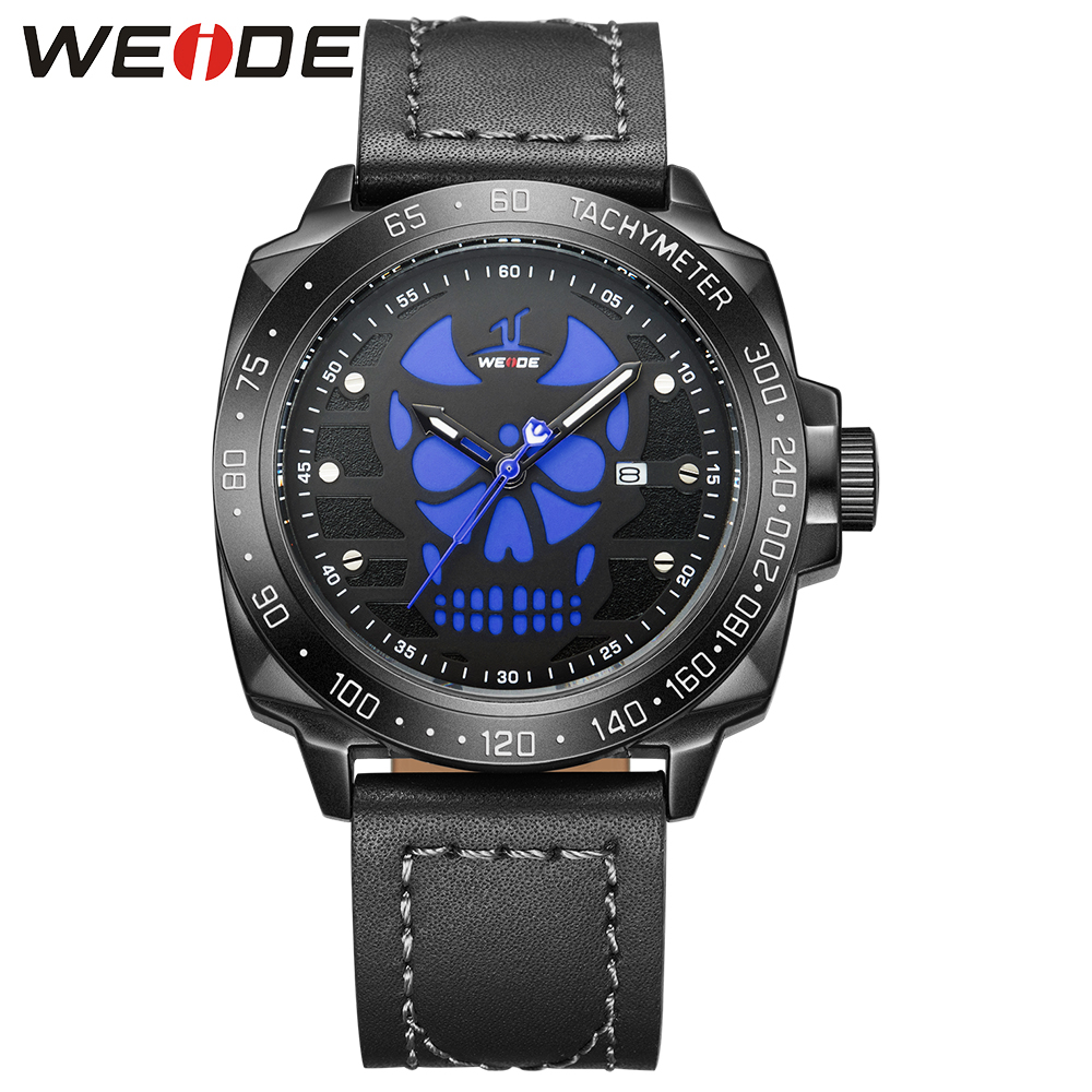 WEIDE Luxury Brand Leather Strap Analog Men's Quartz Clock  Black Unique Fashion Casual Sports Watches Men Military Wrist Watch weide black watch men casual leather strap quartz yellow dial analog display water resistant big fashion high quality male clock