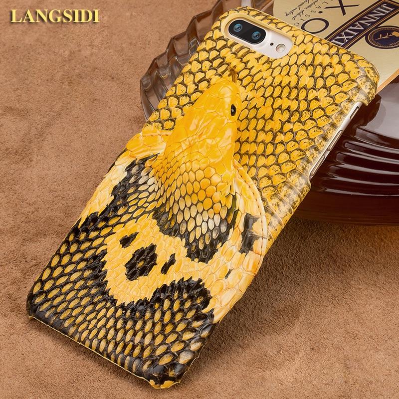 Wangcangli marque coque de téléphone réel tête de serpent couverture arrière coque de téléphone pour iPhone 7 Plus traitement personnalisé manuel complet - 2