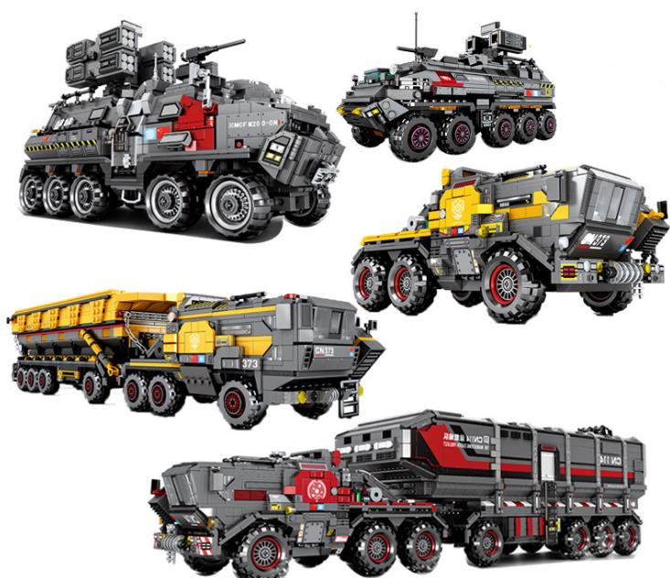 Science fiction Movie Rovers Earth Mars Carrier Truck Model Building Blocks Educational Technic Vehicle Bricks Toys for Children