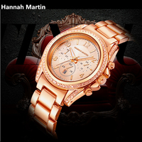 Crystal Diamond Watches Fashion International Women Brand Luxury Hannah Martin Brand Clock Stainless Steel Calendar Wrist