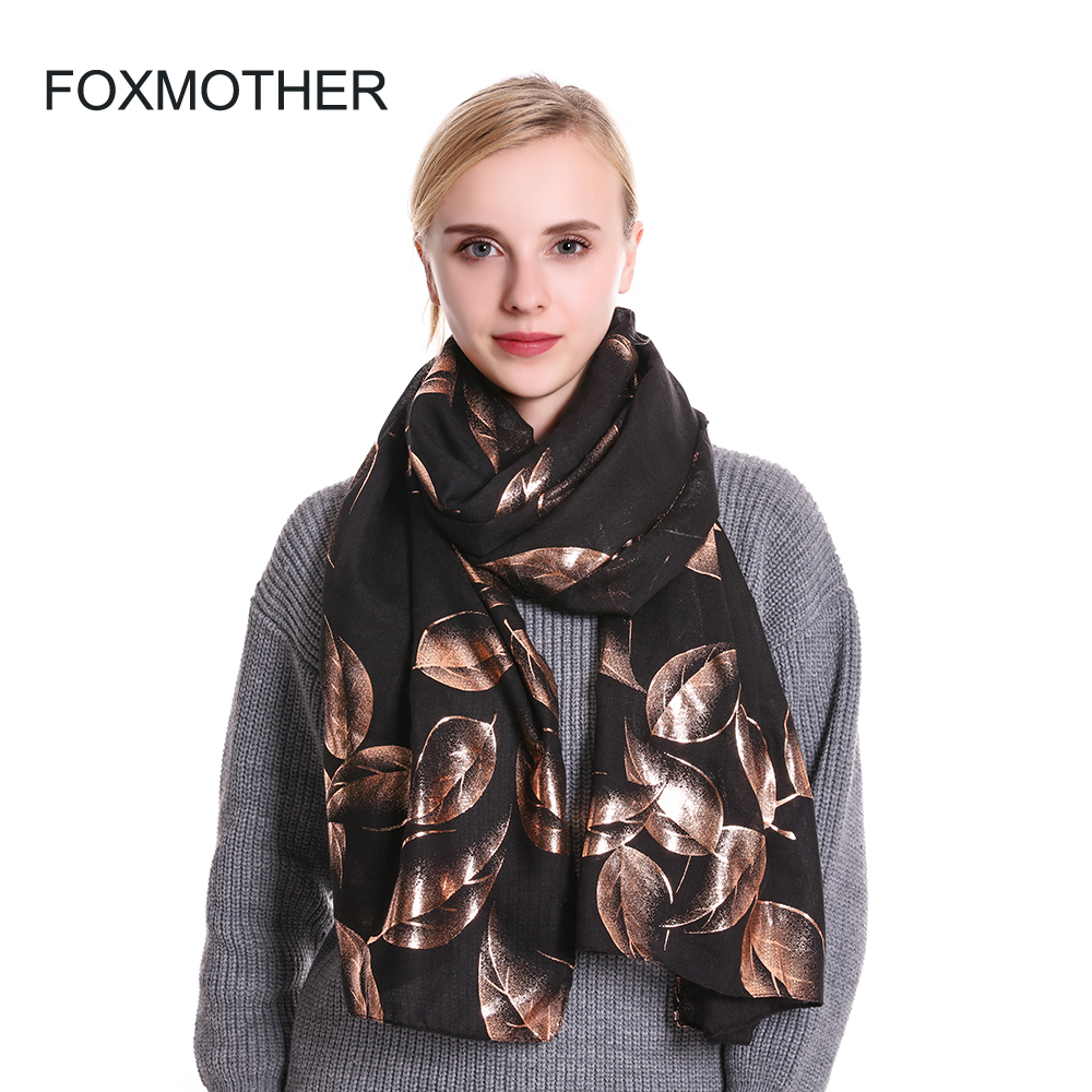 FOXMOTHER 2019 New Fashion Shiny Pink White Navy Color Foil Gold Glitter Leaves   Scarf   Shawl   Wrap   Muslim Hijab   Scarves   For Women