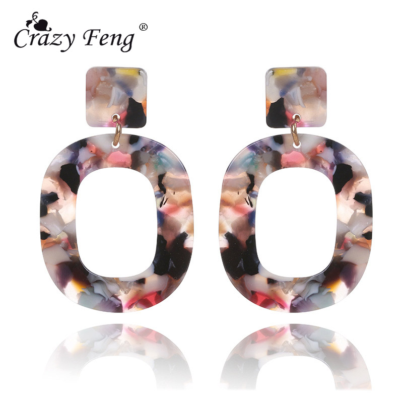 Crazy Feng Trendy 2018 Big Geometric Tortoiseshell Earrings For Women Punk Colorful Acrylic Resin Dangle Earring Party Jewllery