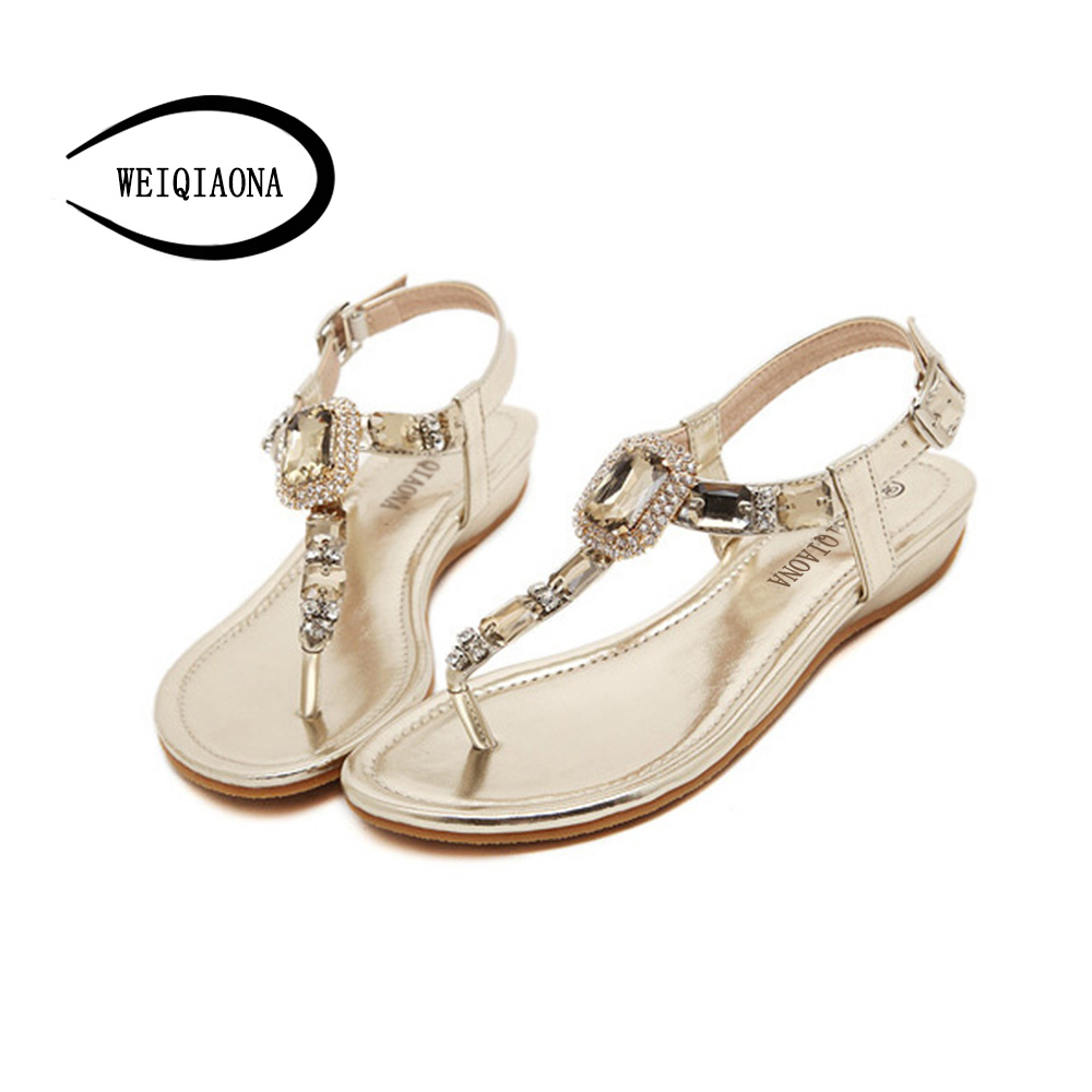 WEIQIAONA 2018 New Fashion Summer Women Shoes Flats Sandals Sexy Luxry Crystal Casual Bohemia Ladies beach Flip Flops Soft Flats women sandals bohemia women casual shoes sexy beach summer girls flip flops gladiator fashion cute women flats sandals abt538