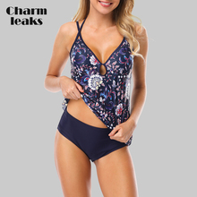 Charmleaks Women Tankini Set Two Piece Swimsuit Vintage Floral Printed Swimwear Strappy Bandaged Sexy Bikini Bathing Suit